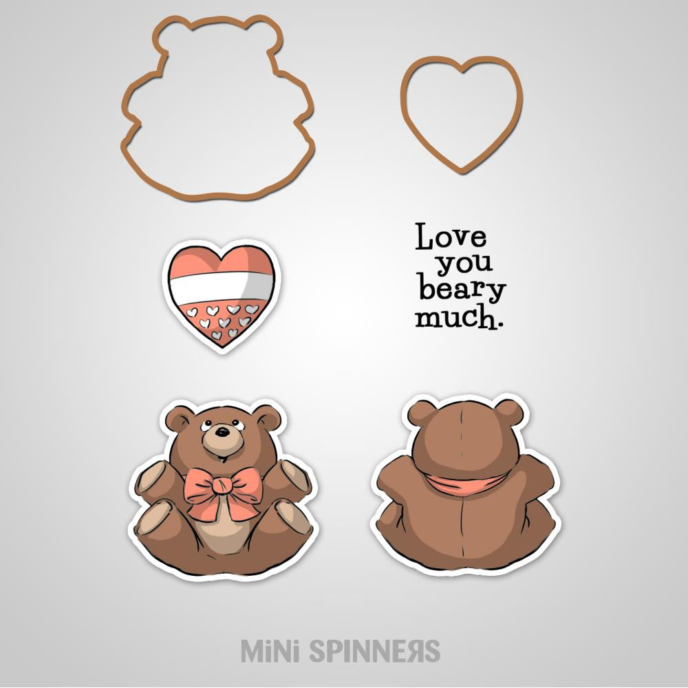 "Art Impressions, Mini Spinners, Cling Rubber Stamp Set, 7""X4"" - Bear"