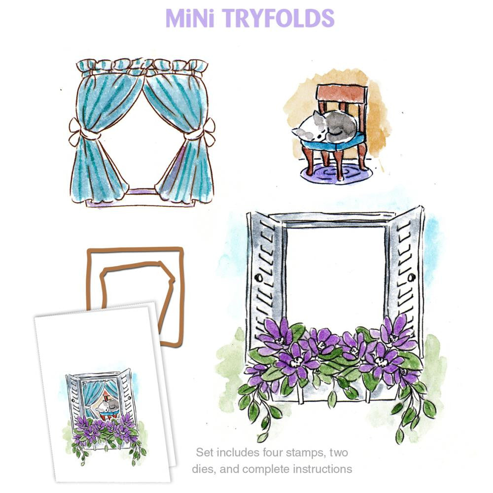 "Art Impressions, Mini Try'folds Cling Rubber Stamp Set, 10""X4.5"" - Garden Window"