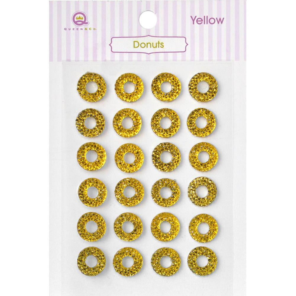Queen & Co, Donuts Self-Adhesive, 24/Pkg - Yellow