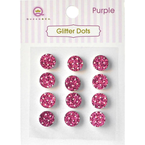 Queen & Co, Glitter Dots, 8mm Self-Adhesive, 12/Pkg - Pink