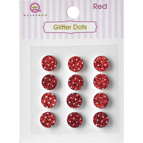 Queen & Co, Glitter Dots, 8mm Self-Adhesive, 12/Pkg - Red