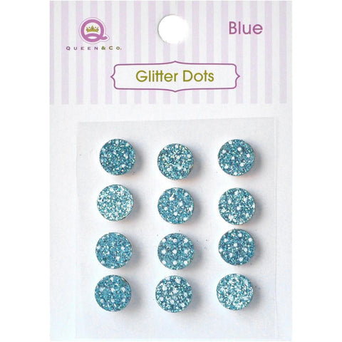 Queen & Co, Glitter Dots, 8mm Self-Adhesive, 12/Pkg - Blue