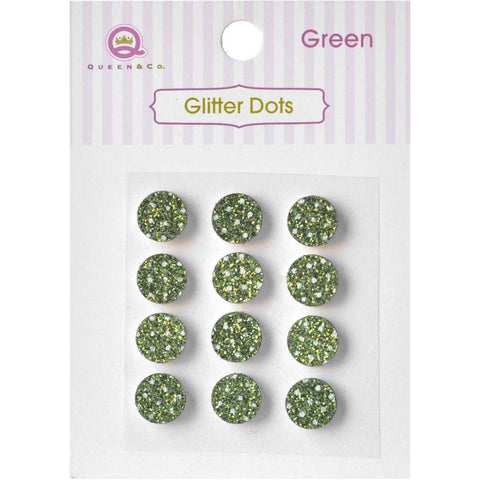 Queen & Co, Glitter Dots, 8mm Self-Adhesive, 12/Pkg - Green