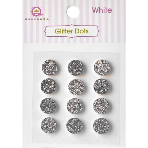Queen & Co, Glitter Dots, 8mm Self-Adhesive, 12/Pkg - White
