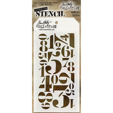 Stampers Anonymous - Tim Holtz - Layering Stencil - Numberic