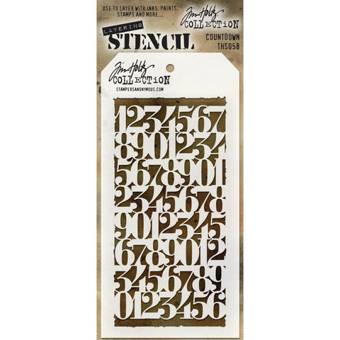 Stampers Anonymous - Tim Holtz - Layering Stencil -  Countdown