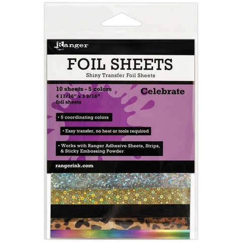 Ranger, Shiny Transfer Foil Sheets 10/pkg - Celebrate