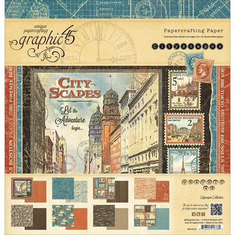 "Graphic 45, Double-Sided Paper Pad  12""X12"" 24/Pkg - Cityscapes, 3ea Of 8 Designs"