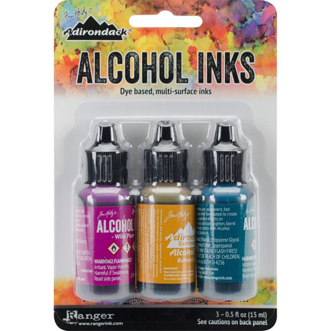 (pre order) Ranger - Tim Holtz Alcohol Ink, .5oz, 3/Pkg - Nature Walk-Wild Plum/Buttrscotch/Stream