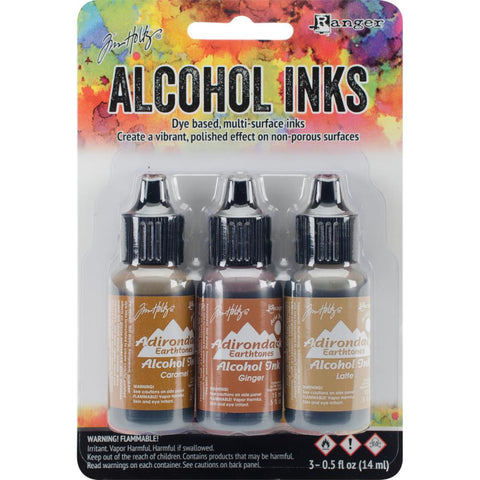 Ranger - Tim Holtz Alcohol Ink, .5oz, 3/Pkg - Cabin Cupboard-Caramel/Ginger/Latte