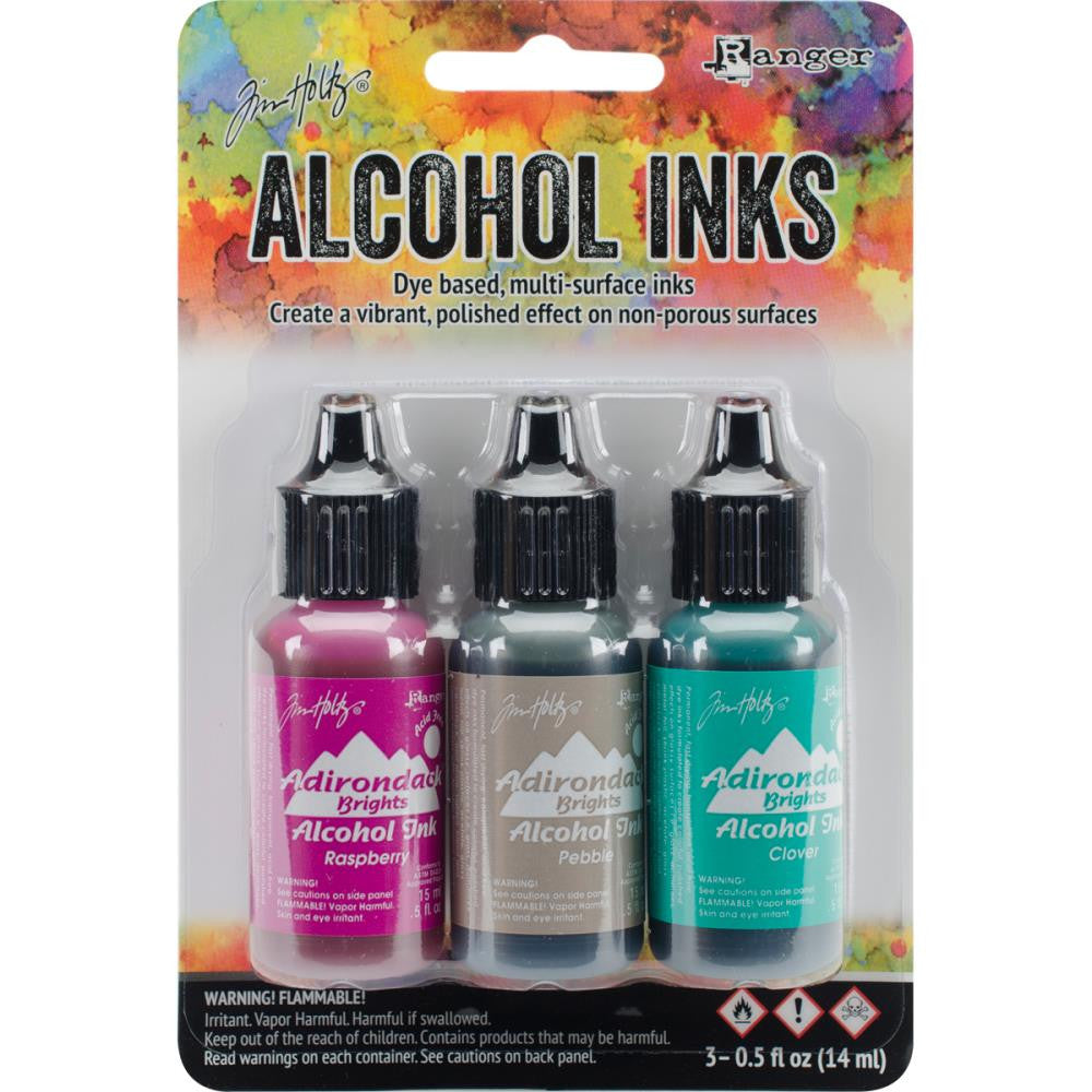 Ranger - Tim Holtz Alcohol Ink, .5oz, 3/Pkg - Valley Trail-Raspberry/Pebble/Clover