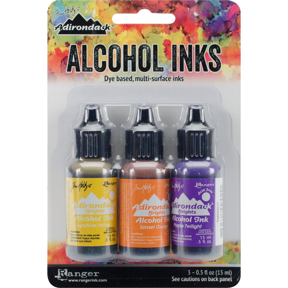 Ranger - Tim Holtz Alcohol Ink, .5oz, 3/Pkg - Summit View-Sunshine/Sunset/Pure Twilght