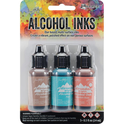 Ranger - Tim Holtz Alcohol Ink, .5oz, 3/Pkg - Scenic Terrace-Hazelnut/Pool/Mtn Rose