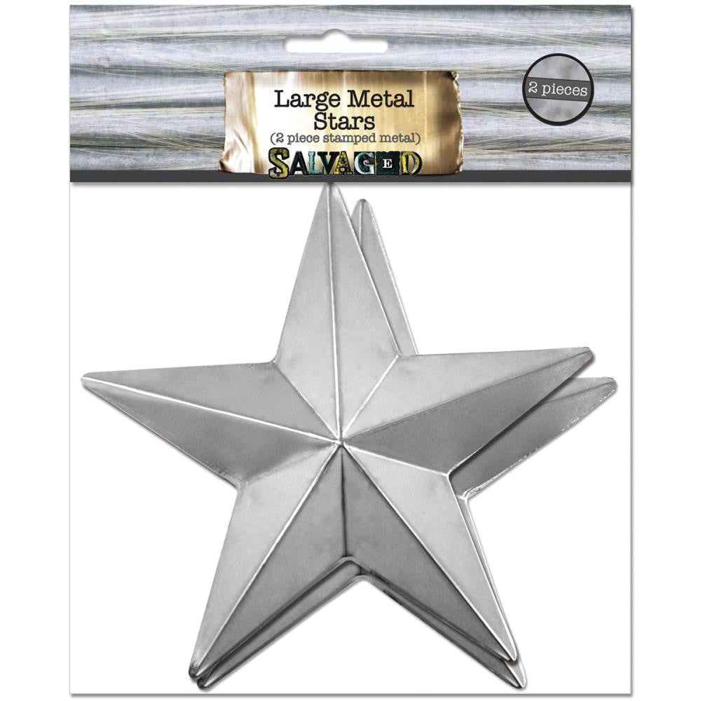 Salvaged Large Metal Stars 2/Pkg