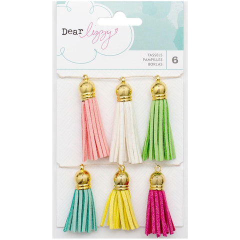 "American Crafts, Dear Lizzy Happy Place Suede Tassels, 6/Pkg - 1.25"" & 1.75"""