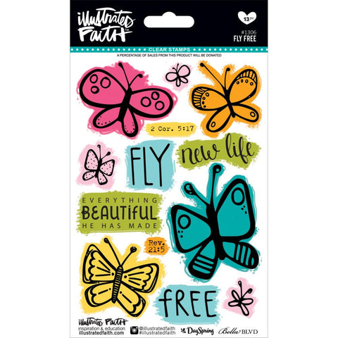 "***New Item*** Illustrated Faith, Basics Stamps 4""X6"" - Fly Free"
