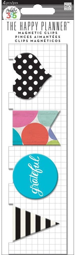 Me & My Big Ideas - Create 365 The Happy Planner Magnetic Clips - Grateful, 4/Pkg