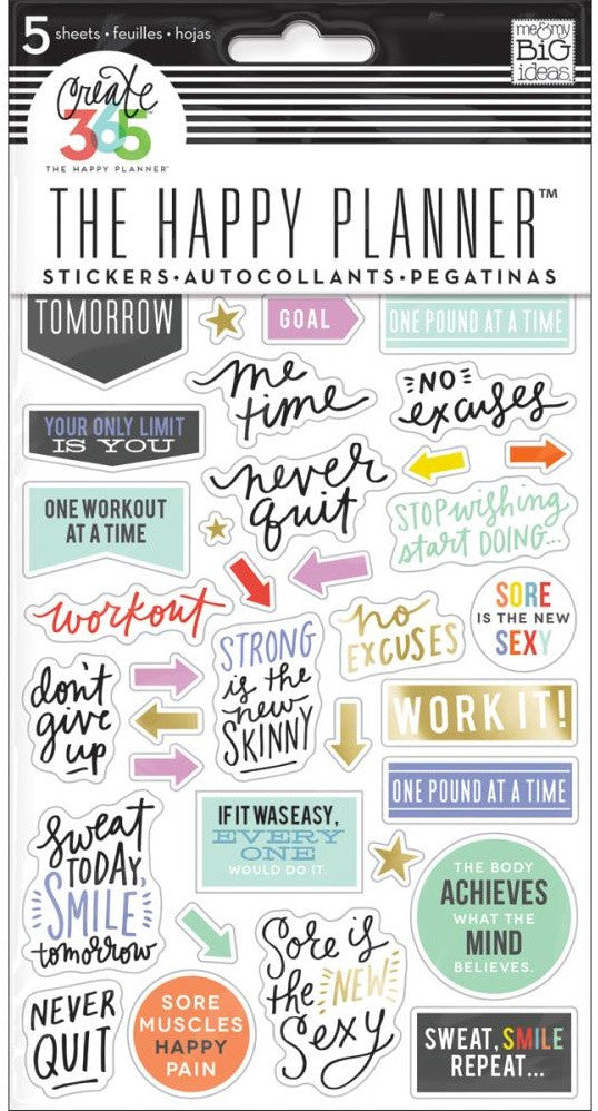 Me & My Big Ideas - Create 365 The Happy Planner Stickers - Fitness