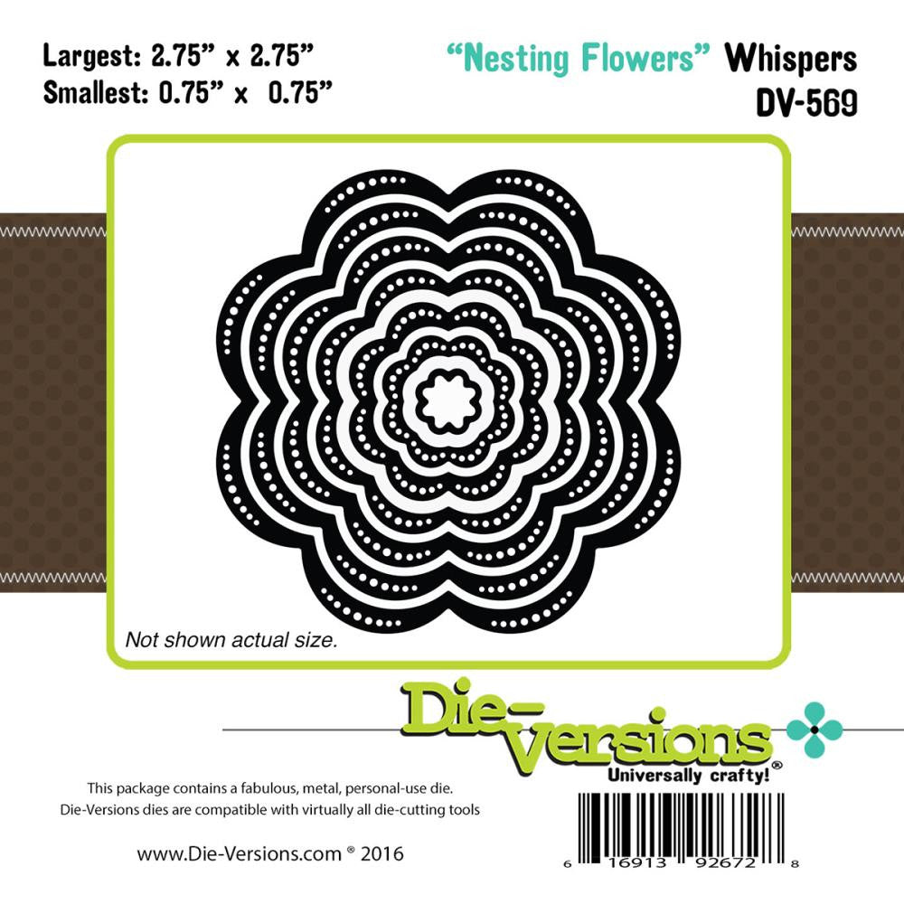 "Die-Versions Whispers Nesting Die - Flowers, .75"" - 2.75"""