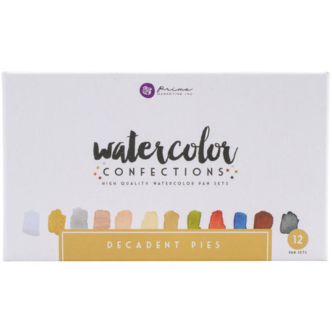 Prima Marketing Watercolor Confections Pans Set of 12 - Decadent Pies