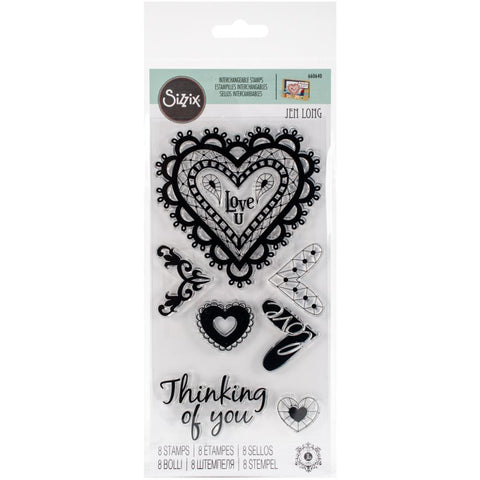 Sizzix, Clear Stamps By Jen Long - Doodle Hearts