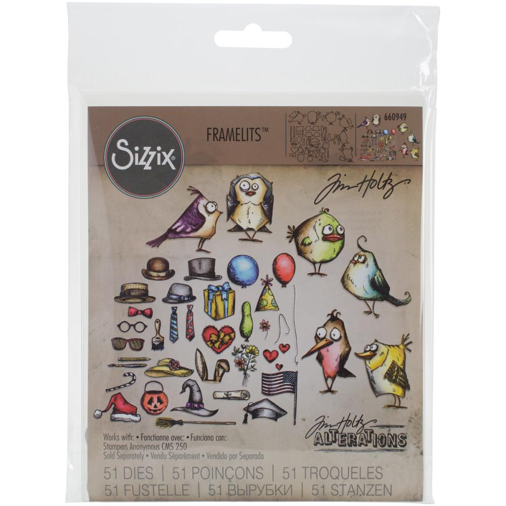 Tim Holtz Alterations Framelits Dies - Mini Bird Crazy & Things Sizzix