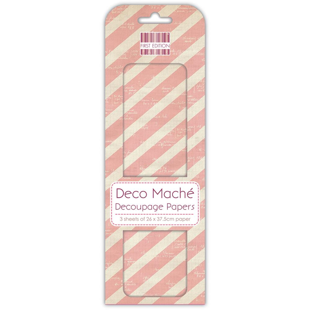 "First Edition - Deco Mache Paper 10.25""X14.75"" 3/Pkg - Pink Stripes"