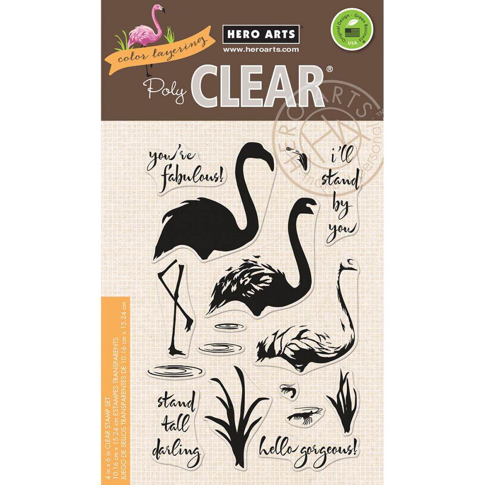 "Hero Arts - Clear Stamps 4"" x 6"" - Color Layering Flamingo"