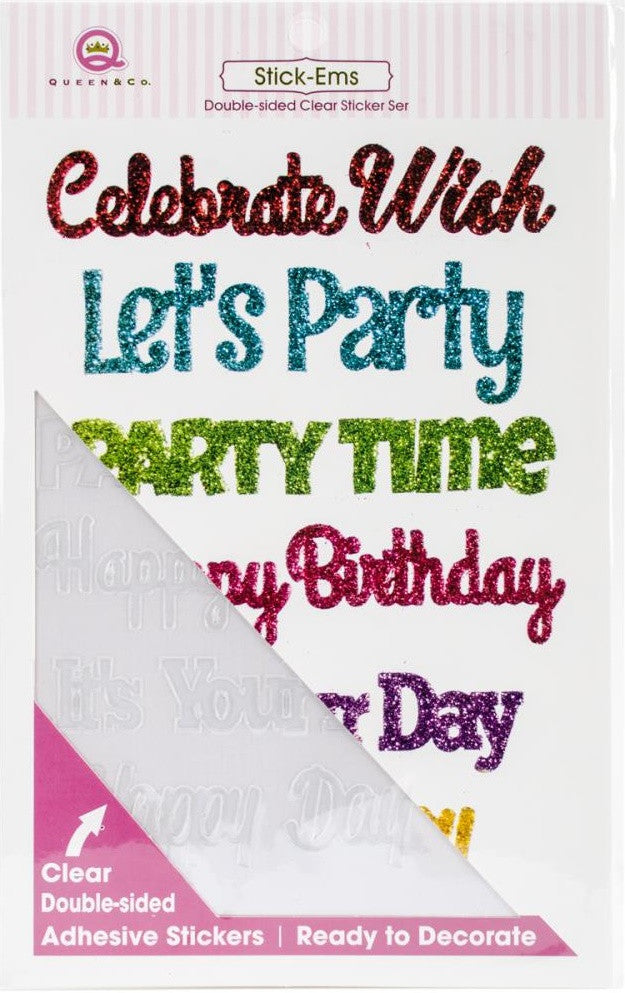 Queen & Co - Stick Ems Stickers - Birthday Sentiments
