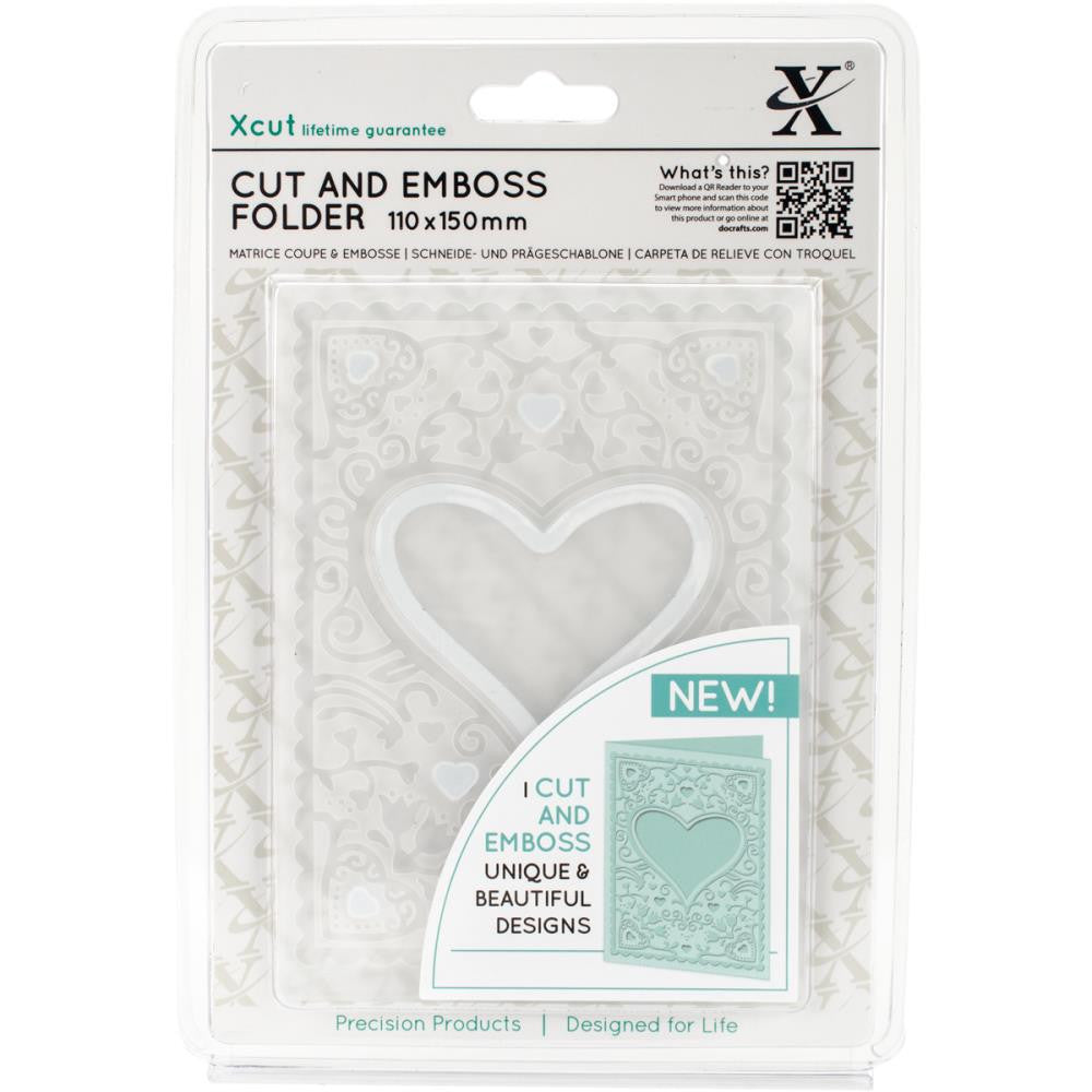Xcut Cut & Emboss Folder, 110mm X 150mm - Heart Frame