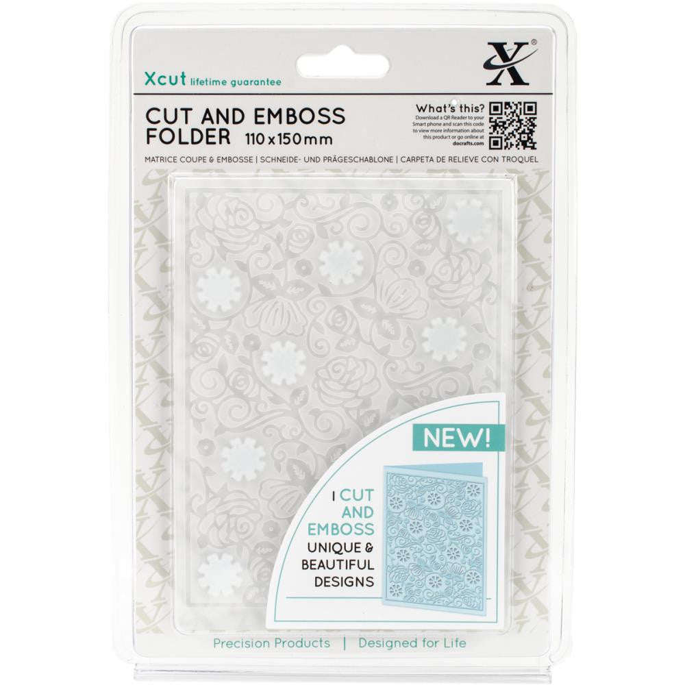 Xcut Cut & Emboss Folder, 110mm X 150mm - Floral Pattern