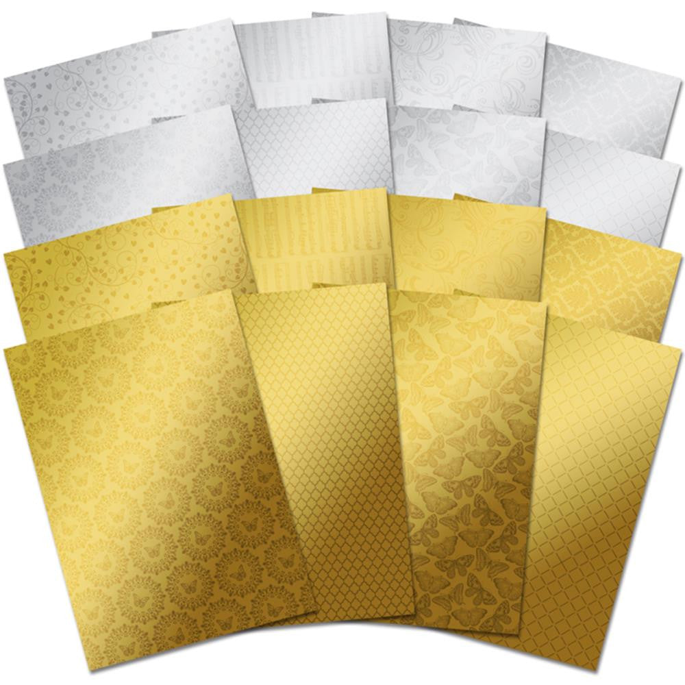 Hunkydory, Mirri Textures A4 Specialty Cardstock 16/Pkg - Stunning Silver & Glamorous Gold