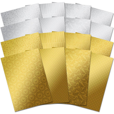 ***New Item*** Hunkydory, Mirri Textures A4 Specialty Cardstock 16/Pkg - Stunning Silver & Glamorous Gold
