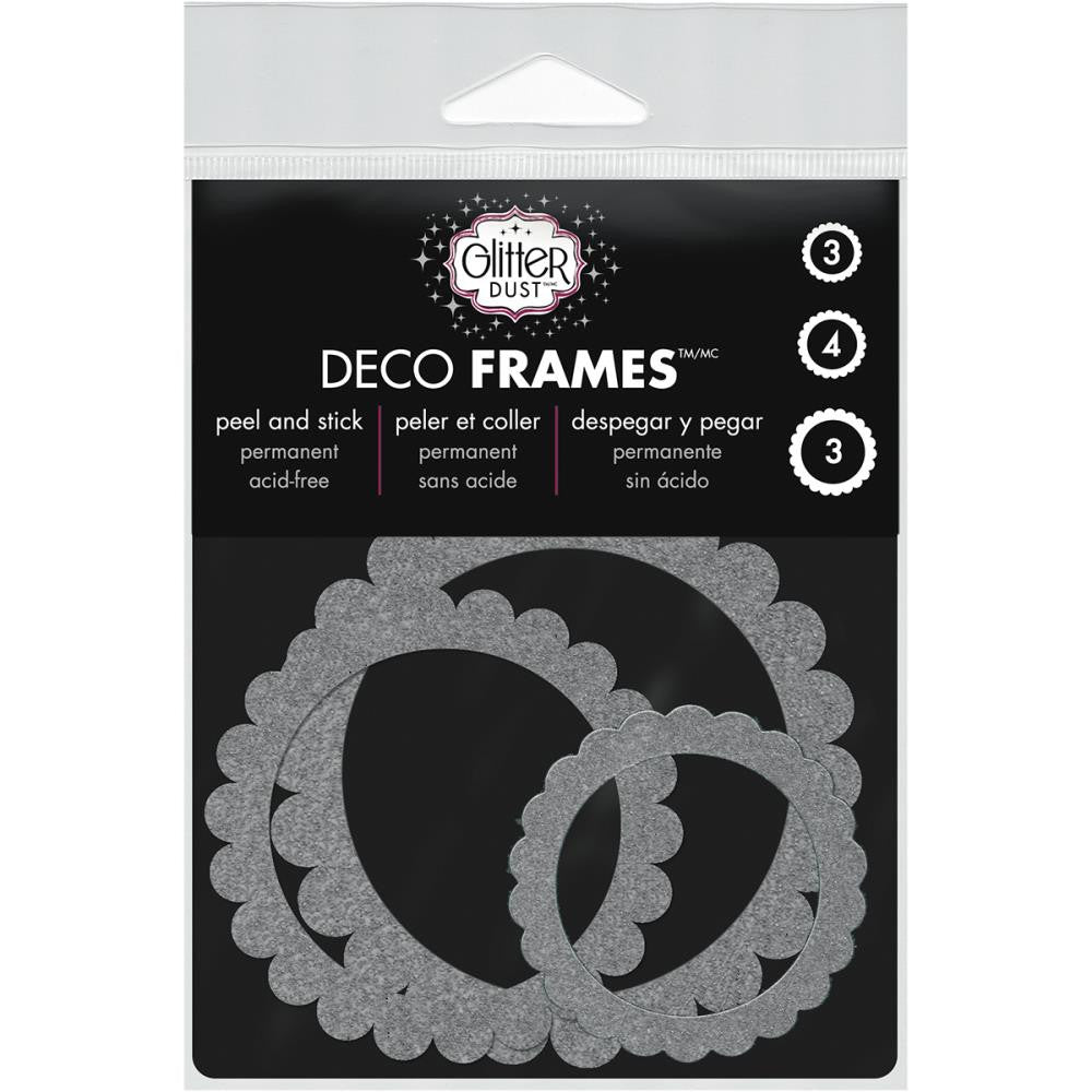 Therm-O-Web, Glitter Dust Frame Assortment 10/Pkg - Scallop Circle Silver