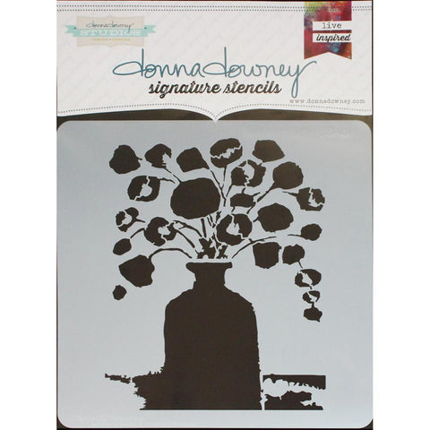 "***New Item*** Donna Downey Signature Stencils, 8.5""X8.5"" - Flowers In Vase #1"