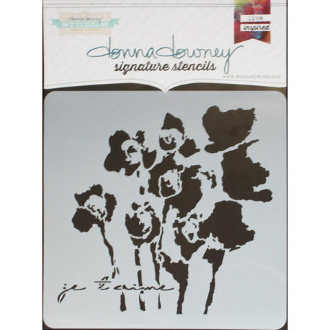 "***New Item*** Donna Downey Signature Stencils, 8.5""X8.5"" - Je T'amie"