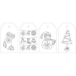 ***New Item*** KaiserColour Coloring Tag Pack 24/Pkg - Holly Jolly