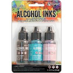 Ranger - Tim Holtz Alcohol Ink, .5oz, 3/Pkg - Retro Cafe-Pool/Pink Sherbert/Espresso
