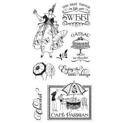 Hampton Art, Graphic 45 Cafe Parisian Cling Stamps - One