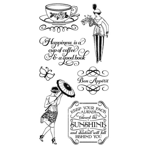 Hampton Art, Graphic 45 Cafe Parisian Cling Stamps - Three