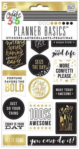 Me & My Big Ideas - Create 365 Planner Basics Stickers - Gold - Seize The Day