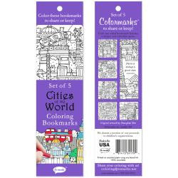 ***New Item*** Coloring Bookmarks 5/Pkg - Cities Of The World