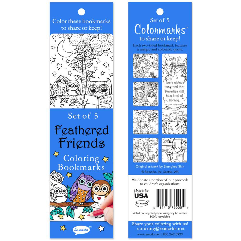 Coloring Bookmarks 5/Pkg - Feathered Friends