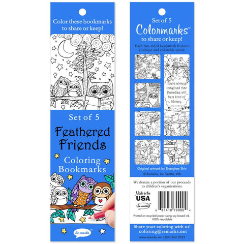 ***New Item*** Coloring Bookmarks 5/Pkg - Feathered Friends