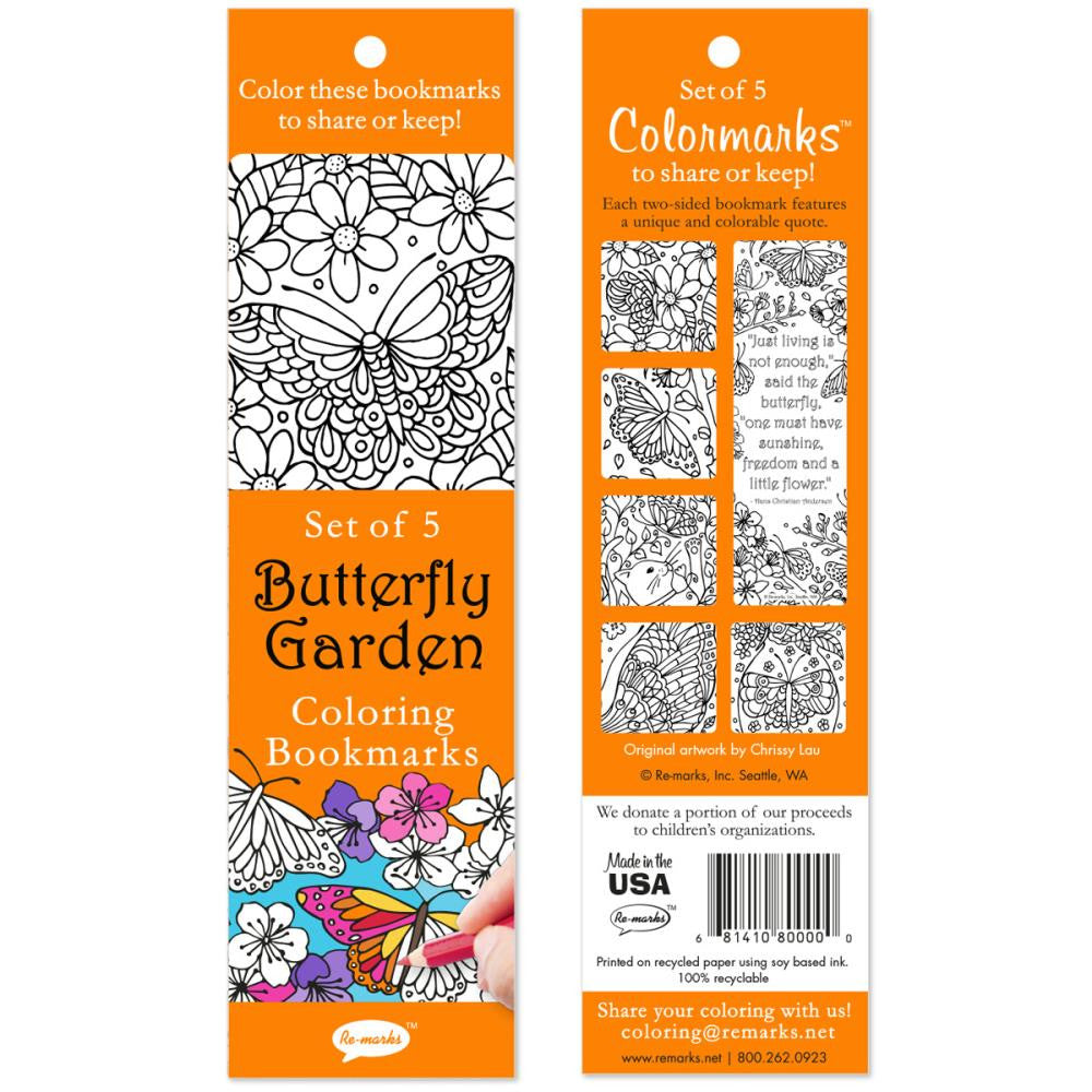 Coloring Bookmarks 5/Pkg - Butterfly Garden
