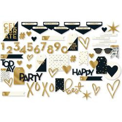 My Mind's Eye, Yes, Please Mixed Bag Cardstock Die-Cuts 56/Pkg - W/Gold Foil Accents
