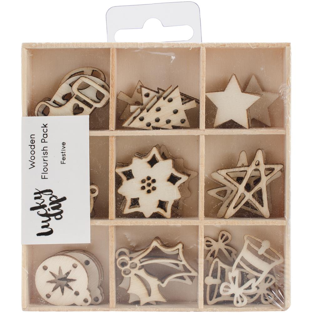 Kaisercraft Themed Mini Wooden Flourishes 45/Pkg - Festive