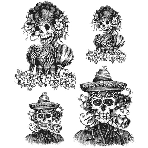 "***New Item*** Tim Holtz - Cling Stamps 7""x 8.5"" - Day Of The Dead #1"