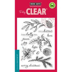 "***New Item*** Hero Arts, Clear Stamps, 4"" x 6"" - Happy Holly Days"