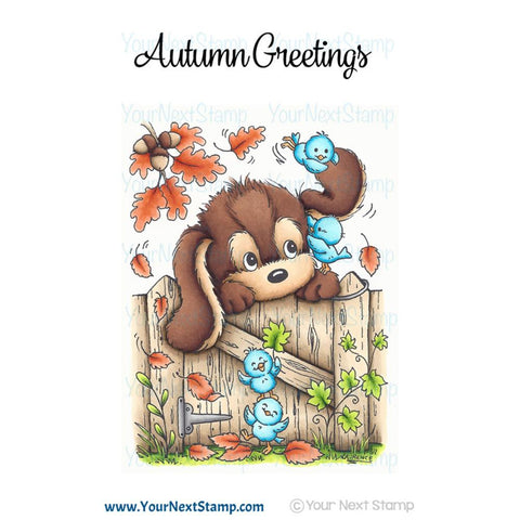 "Your Next Stamp, Clear Stamps 3""X4"" - Autumn Leaves Dog"